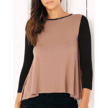 Casual Long Sleeve Color Block Flounced Asymmetric Blouse - CAMEL S