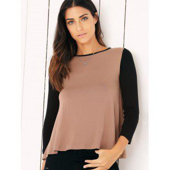 Casual Long Sleeve Color Block Flounced Asymmetric Blouse - S S