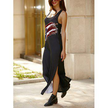 U Neck Sleeveless Criss-Cross High Slit Casual Maxi Dress