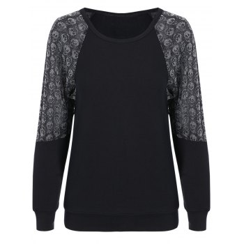 Stylish Skulls Spliced Raglan Sleeve Pullover Sweatshirt For Women