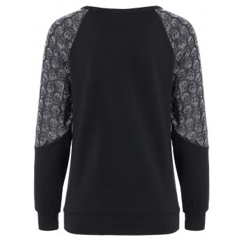 Stylish Skulls Spliced Raglan Sleeve Pullover Sweatshirt For Women - BLACK XL