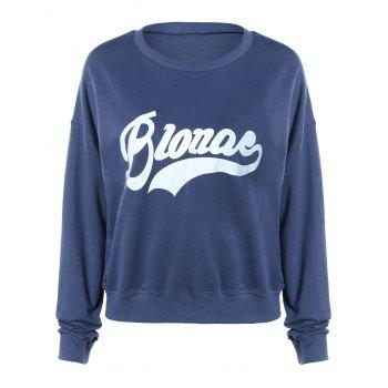 Buy Brief Letter Print Pullover Sweatshirt Women DEEP BLUE
