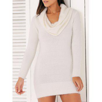 Brief Cowl Collar Long Sleeve Sweater Dress For Women
