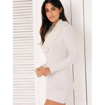 Brief Cowl Col manches longues robe pull pour les femmes - Blanc ONE SIZE
