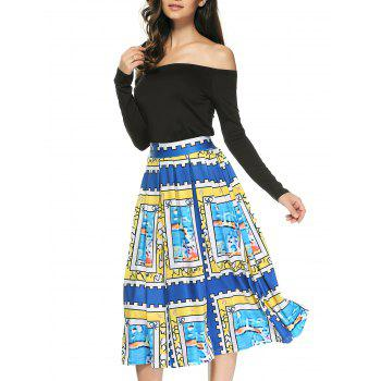 Chic Off The Shoulder T-Shirt and Print Skirt Twinset For Women