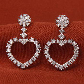 Cut Out Silver Plated Rhinestone Heart Earrings - SILVER