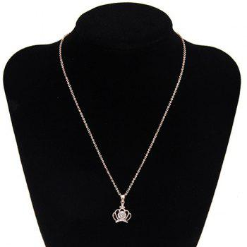 Crown Filigree Rhinestone Pendant Necklace