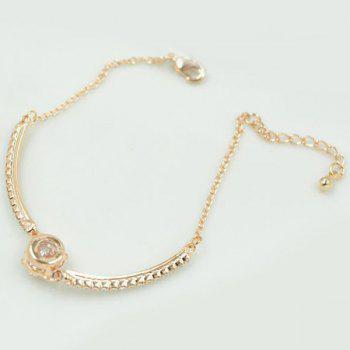 Floral Carved Gold Plated Rhinestone Ball Charm Bracelet - CHAMPAGNE