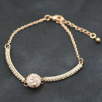 Floral Carved Gold Plated Rhinestone Ball Charm Bracelet