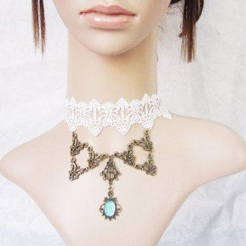 Punk Lace Etched Geometric Faux Gem Pendant Necklace