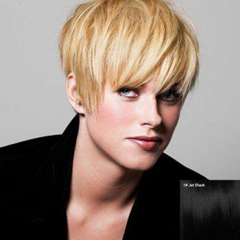 Faddish Short Side Bang Straight Pixie Cut Women's Real Human Hair Wig