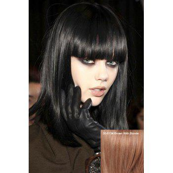 Impressive Medium Straight Full Bang Women's Real Human Hair Wig
