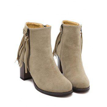 Trendy Fringe and Side Zip Design Women's Ankle Boots - KHAKI 38