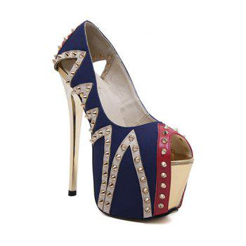 Party Rivet and Platform Design Women's Peep Toe Shoes