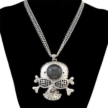Vintage Rhinestone Skull Necklace