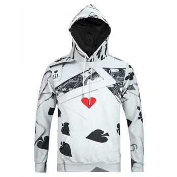 3D Poker Print Kangaroo Pocket Men's Long Sleeve Hoodie