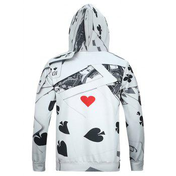 3D Poker Print Kangaroo Pocket Men's Long Sleeve Hoodie - GRAY XL