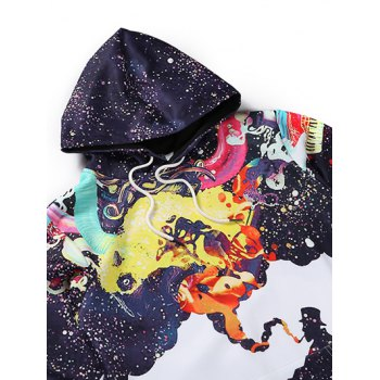 Multicolor Splatter Print Kangaroo Pocket Men's Long Sleeve Hoodie - WHITE 3XL