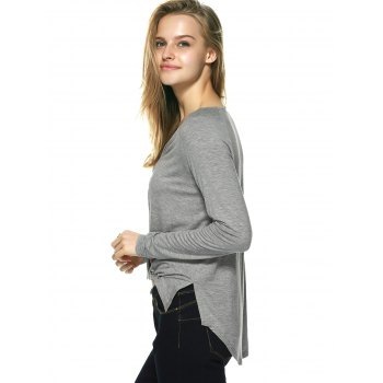 Novelty Plunging Neck Lace-Up Blouse - GRAY L