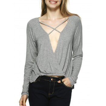 Novelty Plunging Neck Lace-Up Blouse - GRAY S