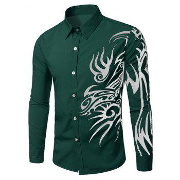 New Look Dragon Design Turn-Down Collar Long Sleeves Shirt For Men