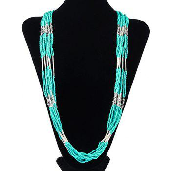 Buy Bohemian Style Multilayered Longline Beads Alloy Necklace MINT GREEN