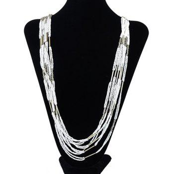 Buy Bohemian Style Multilayered Longline Beads Alloy Necklace WHITE