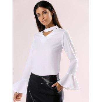 Elegant Cut Out Choke Collar Bell Sleeve Pure Color Chiffon Blouse - WHITE XL
