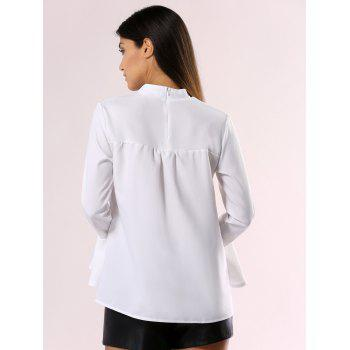 Elegant Cut Out Choke Collar Bell Sleeve Pure Color Chiffon Blouse - XL XL
