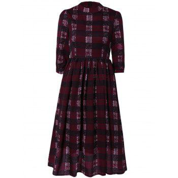 Chic Zipper Back Plaid Dress For Women