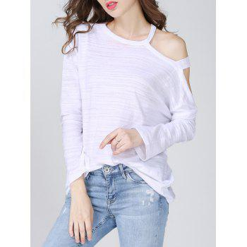 Cut Out Solid Color Loose Fitting Women s T Shirt