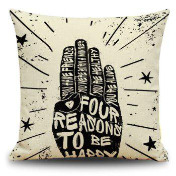 Square Letter Gesture Linen Throw Cover Pillow Case
