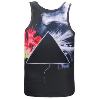 Geometric Printed Round Neck Galaxy Tank Top - BLACK 2XL