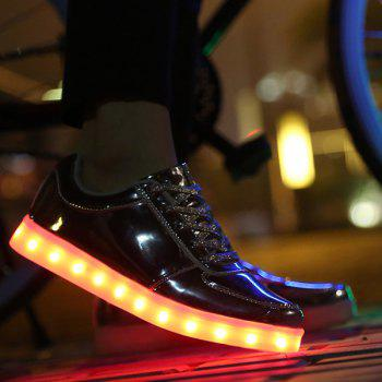 Stylish Lights Up Led Luminous and Metal Color Design Men's Casual Shoes - GOLDEN 43