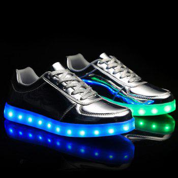 Stylish Lights Up Led Luminous and Metal Color Design Men's Casual Shoes
