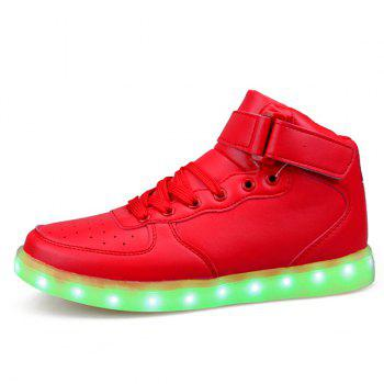 Fashionable Tie Up and Lights Up Led Luminous Design Men's Casual Shoes - RED 43