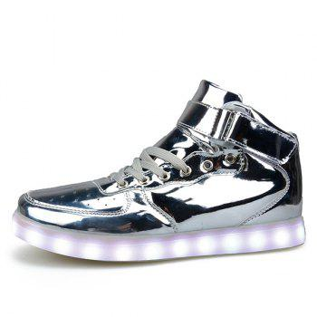 Fashionable Tie Up and Lights Up Led Luminous Design Men's Casual Shoes - SILVER 42