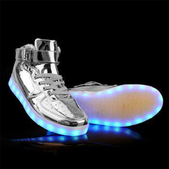 Fashionable Tie Up and Lights Up Led Luminous Design Men's Casual Shoes