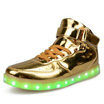 Fashionable Tie Up and Lights Up Led Luminous Design Men's Casual Shoes - GOLDEN 44