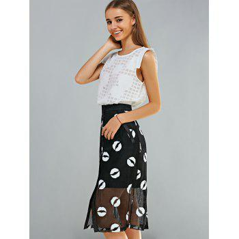 Lace Top and Voile Splicing Skirt Suit - WHITE/BLACK L