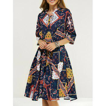 High Waist 1/2 Sleeve Printed Dress