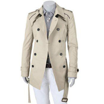 Turn-Down Collar Epaulet Design Double Breasted Slimming Long Sleeve Men's Coat