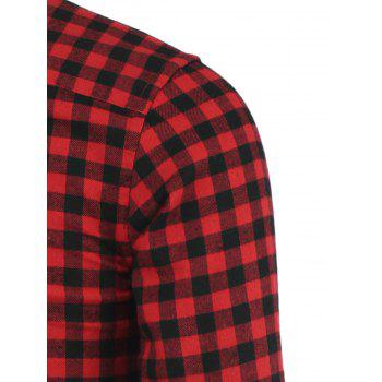 Small Grid Turn-Down Collar Long Sleeve Shirt - RED/BLACK 4XL