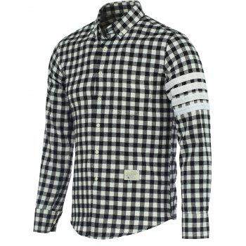 Small Grid Turn-Down Collar Long Sleeve Shirt
