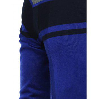 Color Block Splicing V-Neck Long Sleeve Sweater - BLUE 3XL