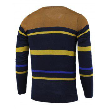 Stripe Color Block Splicing col en V Pull à manches longues - Bleu Cadette L