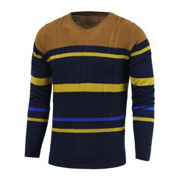 Stripe Color Block Splicing V-Neck Long Sleeve Sweater