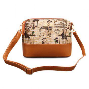 Retro Print and Pandent Design Women's Crossbody Bag