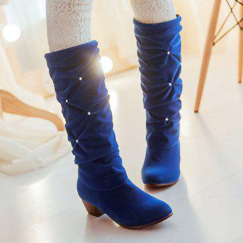 Trendy Ruched and Rhinestone Design Women's Mid-Calf Boots - BLUE 38