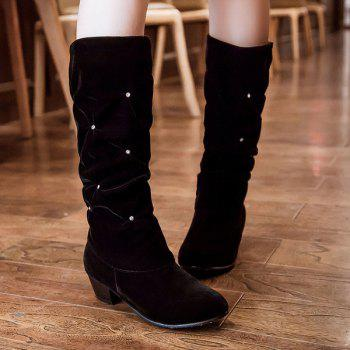 Buy Trendy Ruched Rhinestone Design Women's Mid-Calf Boots BLACK